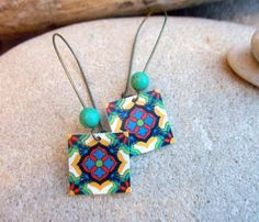 Mexican Tile earrings boho turquoise antique gold kidney wire