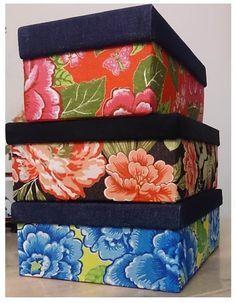 Caixas deccaoradas com tecido de Chita!                                                                                                                                                                                 Mais
