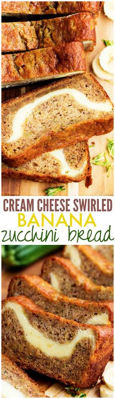 Cream Cheese Swirled Banana Zucchini Bread - One of the BEST breads you will make!