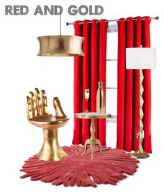 Red And Gold By Yangliu 4 On Polyvore Featuring Interior Interiors