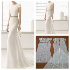 Basic white dress pattern with long tail on the back.