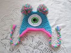 Miss Monster Crochet Hat  Photo Prop  Available in Any Size