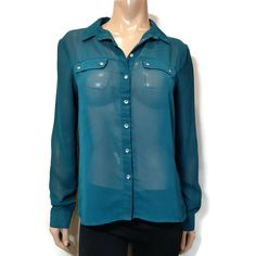 Suzy Shier Sheer Button Down Blouse Womens Size Medium Teal Flap Pocket Shirt Cuff Sleeves, Suzy, Blouses For Women, Online Price, Button Downs, Teal, Tunic, Pocket, Medium