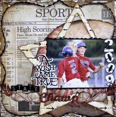 remember to do this for cooperstown...with a paper bought from there with date on it!  Grungy Boy's Sports Page...scrapboo.
