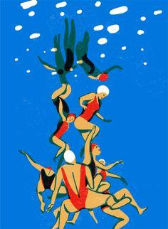 Illustration Sketches, Illustrations, Graphic Illustration, David Hockney Pool, Visual Metaphor, Pool Picture, Blue Pool, Silk Screen Printing, Printmaking