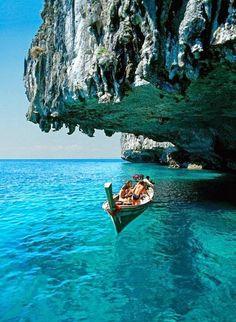 Deep blue sea in Santorini, Greece