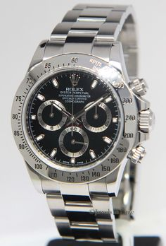 Rolex Watches Collection : Rolex Daytona Chronograph Steel Black Dial Mens Watch Box/Papers 116520 - Watches Topia - Watches: Best Lists, Trends & the Latest Styles Rolex Watches, Mens Watch Box, Automatic Watches For Men, Rolex Daytona, Rolex Submariner, Luxury Watches For Men, Watch Brands, Chronograph, Men Watches