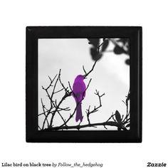 Lilac bird on black tree jewelry box