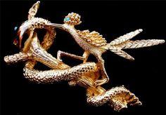 Vintage Roadrunner Bird Snake Brooch Figural Estate Pin Blue Rhinestone Gold | eBay