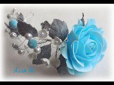 МК Квіти із фоамірану на шпільці до нового року. Цветы из фоамирана на шпильках к новому году. - YouTube