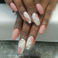 #LacquerRoom #nails #nailart #nailswag #naildesigns #nailstagram #freehand #coffinnails #mattenails #bling #glitz #swarovski #bronxnailsalons #FunkyNailPolish