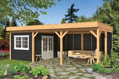 Gazebo Grande 490 x 290 cm Impregnated - Popular Garden Deco covering - Timber trade Gadero presents Larch Douglas canopies with flat roof and beautiful black walls and wh - Garden Buildings, Garden Structures, Outdoor Structures, Garden Huts, Garden Gazebo, Backyard Storage Sheds, Shed Interior, Garden Workshops, Carport Designs