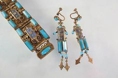 Art Deco CZECH Enamel Filgree Glass Bracelet Earrings Czecho Slovakia