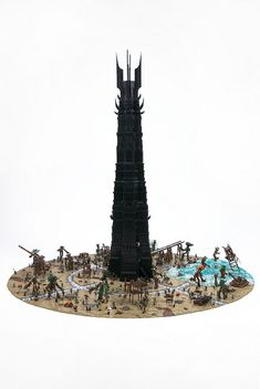 The Lego Orthanc tower is taller than two Hobbits put together.