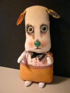 ooak dog art doll cute  original doll sandy by sandymastroni, $44.00