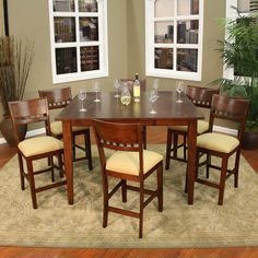 AHB Este 7 Piece Butterfly Counter Height Set with Andria Stools | www.hayneedle.com