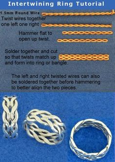 Sooo beautiful and clever ! :) Intertwining Ring Tutorial by *harlewood on dev. - Sooo beautiful and clever ! :] Intertwining Ring Tutorial by *harlewood on deviantART - Wire Tutorials, Jewelry Making Tutorials, Jewellery Making, Diy Jewelry Projects, Jewelry Crafts, Jewelry Supplies, Art Projects, Anel Tutorial, Wire Rings Tutorial