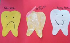 """Preschool dental activity. Yellow """"sad"""" tooth. Brush a yellow tooth with white paint """"tooth paste"""" to make a happy clean white tooth"""