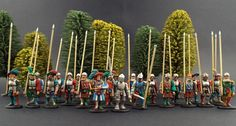 "More Pikes.....28mm Warlord Games ~ (Pro-Gloria) Landsknechts Pikes, Lets say a significantly ""Brighter Style palette"" than usual.... (Trial) Basing to be completed by Client."
