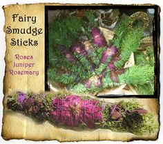 Rose Fairy Smudge Stick - roses, rosemary, & juniper handrolled smudging wand or bundle - Wiccan, Pagan, Hoodoo