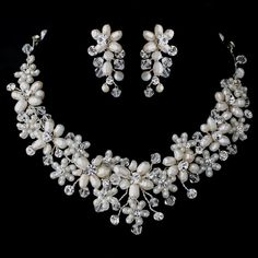 Lovely! Freshwater Pearl and Crystal Bead Floral Vine Wedding Jewelry Set - Affordable Elegance Bridal -