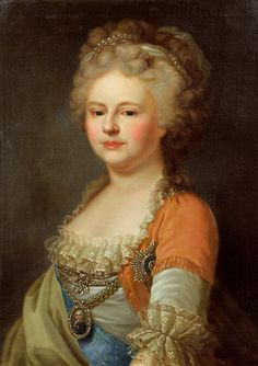 Portrait after Lampi in 1795 of Tsaritsa Sophie-Maria Feodorovna (Sophie Dorothea) (25 Oct 1759-5 Nov 1828) Württemberg, Germany. She was the 2nd wife of Tsar Paul I Petrovich Romanov (1754-1801) Russia. Location Unknown in 2016.Posted by Reinette in 2012.