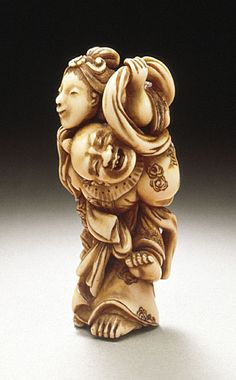 Chingendo Hidemasa (Japan)   Ikkaku: The One-Horned Immortal, late 18th-early 19th century  Netsuke, Ivory with staining, sumi