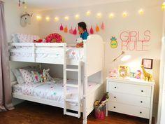 Girls bunkbed Bedroom - All For Decorations Twin Girl Bedrooms, Bunk Beds For Girls Room, Little Girl Rooms, Girls Bedroom, Bedroom Ideas, Kids Room Design, Interior Design Living Room, Pink White, White Girls