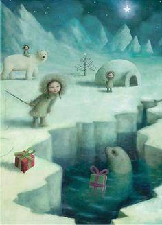 "a christmas greeting card illustrated by Stephen Mackey for his ""Porcelin"" range published by Lip International Ltd......"