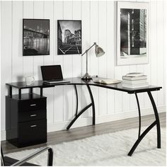 Create your own ideal workspace with this desk, featuring a sleek design that is perfect for providing plenty of surface space without adding too much visual weight.