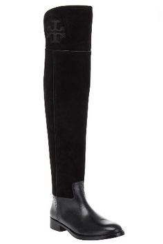 863c158cc38 Tory Burch Simone Over-the-Knee Suede Boot in Black