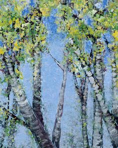 Spring Birches Looking At, acrylic on flat canvas panel, 8x10