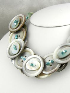 Layered Mother of Pearl Button Necklace Blue Silver via Etsy.