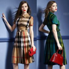 Cheap Dresses on Sale at Bargain Price, Buy Quality dress run, vestido, dress switch from China dress run Suppliers at Aliexpress.com:1,Pattern Type:Plaid 2,color:green,khaki 3,Color Style:Contrast Color 4,Waistline:Natural 5,Sleeve Style:Regular