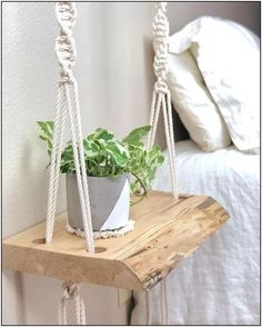 Hottest Cost-Free Macrame Plant Hanger bedroom Style Boho Bedroom Nightstands / Bohemian End Tables – Bedroom Night Stands, Decorating On A Budget, Furniture Projects, Wood Projects, Woodworking Projects, Woodworking Wood, Woodworking Patterns, Garden Projects, Bedroom Decor