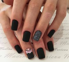 Black nail polish with sparkles, Black nails with a picture, Exquisite nails, Luxurious nails, Matte black nails, Matte nails, New Year nails 2018, New year nails ideas 2018