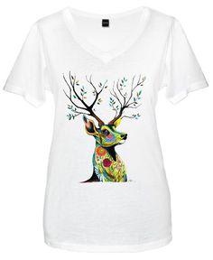 Deer Nature by Pixie Cold as Women's V-Neck T-Shirt V Neck T Shirt, Mens Tops, Stuff To Buy, Design, Women, Fashion, Moda, Fashion Styles