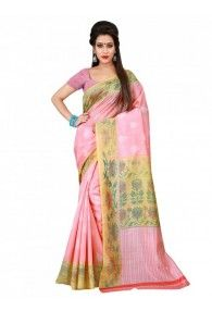 Shonaya Pink & Beige Color Bhagalpuri Art Silk Printed Saree With Unstitched Blouse Piece