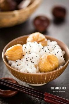 Chestnut Rice (Kuri Gohan) 栗ご飯 - Chestnut rice or Kuri Gohan is a traditional Japanese fall rice recipe. This aromatic chestnut rice with black sesame and a pinch of salt is perfect for fall evenings. #rice #chestnutrecipes #japanesefood #asianrecipes #kurigohan | Easy Japanese Recipes at JustOneCookbook.com Easy Japanese Recipes, Asian Recipes, Ethnic Recipes, Fall Rice Recipe, Chestnut Recipes, Fresh Seafood, Fall Recipes, Food To Make, Cooking Recipes