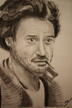 Robert Downey Jr - Charcoal Drawing by ~CaptainBoss on deviantART