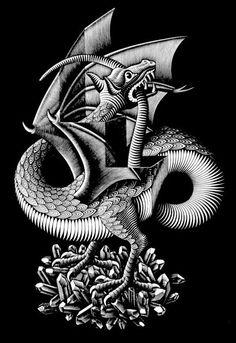 Dragon by MC Escher, Wood engraving Mc Escher, Escher Kunst, Escher Art, Escher Prints, Art And Illustration, Illustrations, Willy Ronis, Drawn Art, Tatoo