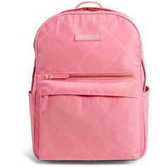 Vera Bradley Preppy Poly Large Backpack in Blossom Pink (449.050 COP) ❤ liked on Polyvore featuring bags, backpacks, blossom pink, pink bag, padded bag, strap backpack, vera bradley backpack and padded backpack