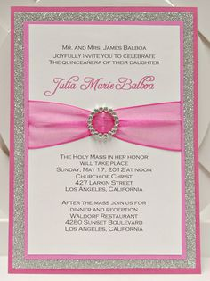 Bright Pink Quinceañera/Sweet Sixteen Invitation Full of Bling, Sparkle, and…