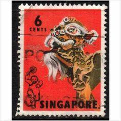 Malaya, Singapore Scott 87 - SG104, 1968 Lion Dance 6c Perf 14 used stamps sur le France de eBid