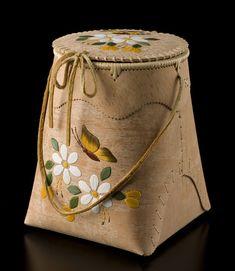 Birch Bark Berry Picking Basket (Butterfly design) by Karen Kotchea, Dené artist (N80302)