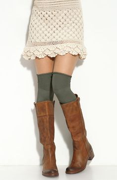 Skirt, knee socks & boots. So cute.