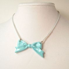 Retro Blue Bow Necklace Sweet Lolita Princess by blacktulipshop, $8.00