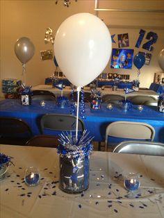 Graduation party - centerpiece idea Glass decor, personal photos, aquarium rock, chevron straws and balloon