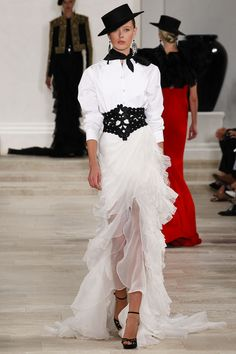 Ralph Lauren Spring 2013 Ready-to-Wear - 60 <3 bold belt against the soft bottom half of the gown