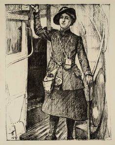 Archibald Standish Hartrick 'Women's Work: In the Towns - A Bus Conductress', c.1917